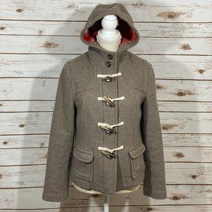 Old Navy Gray & Cream Wool Pea Coat with Hood